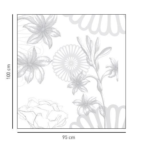 Autocollant décoration gris fleurs des champs pour paroi de douche