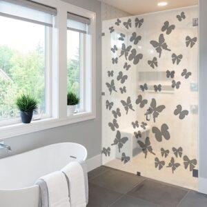 Autocollant nuage de papillons gris déco pour paroi de douche moderne