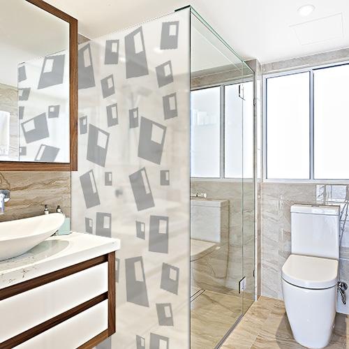 Sticker autocollant Bulles carrées posé sur une paroi de douche