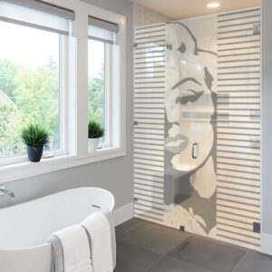 Sticker autocollant Marilyne sur paroi de douche