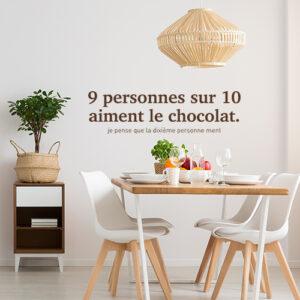 Sticker déco murale au dessus d'une table à manger 9/10 choco