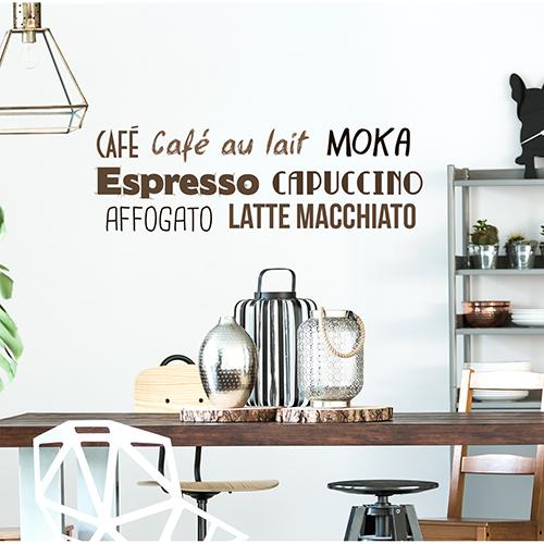 Sticker adhésif Cafe au dessus d'une table à manger dans une cuisine