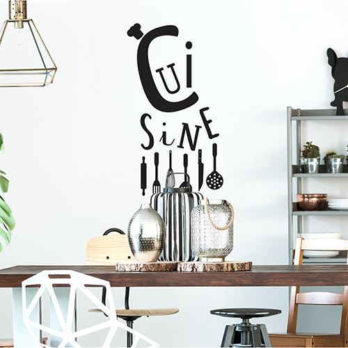 Sticker autocollant Cuisine noir au dessus d'une table de salon