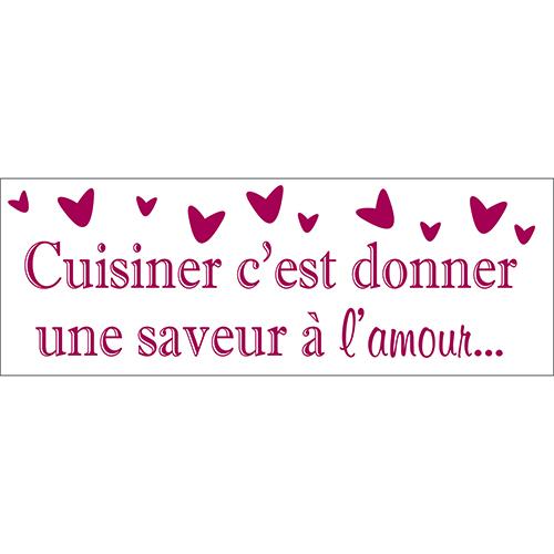 Sticker déco rouge Cuisiner saveur citation