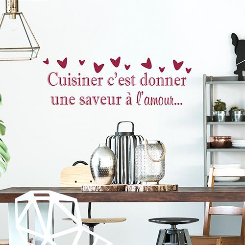 Sticker Cuisiner saveur déco au dessus d'une table à manger
