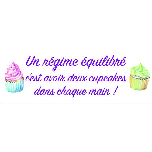 Sticker adhésif Régime équilibré violet citation