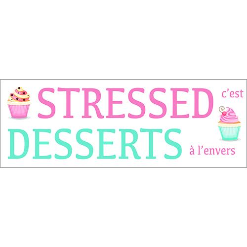 Sticker mural Stressed Dessert déco bleu et rose