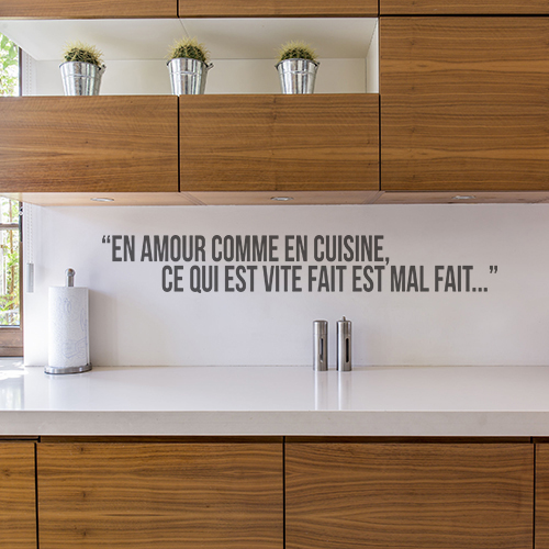 Sticker mural amour cuisine citation d coration - Stickers plan de travail cuisine ...