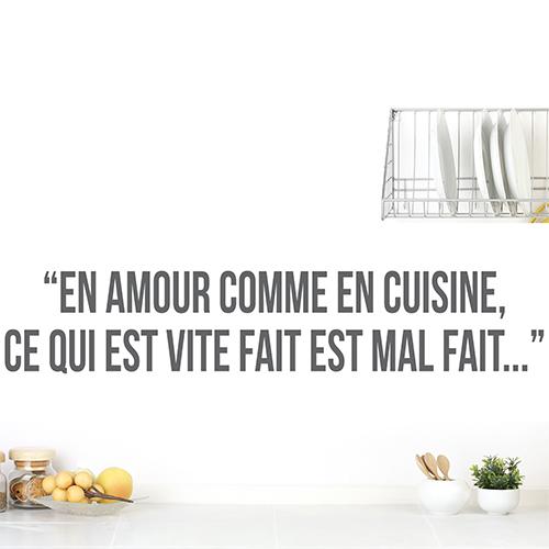 Sticker autocollant Amour cuisine sur un mur de salon