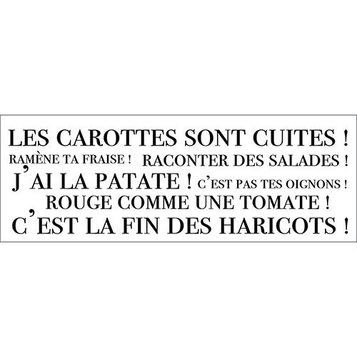 Sticker noir sur fond blanc citation Les carottes sont cuites