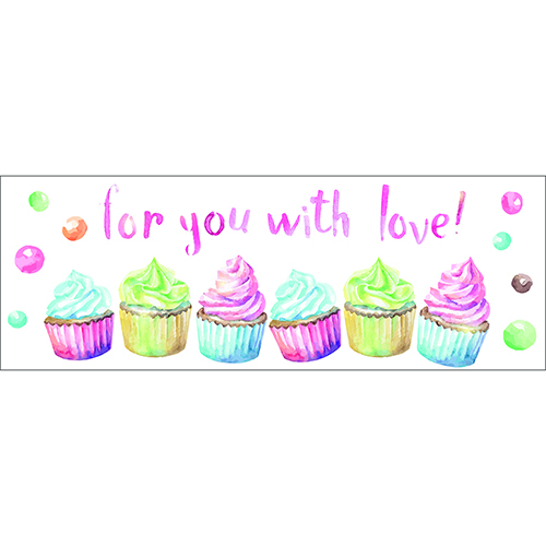 Sticker for you with love vert et rose citation