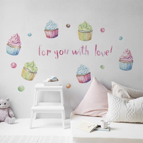 Sticker mural For you with love au dessus d'un lit dans une chambre