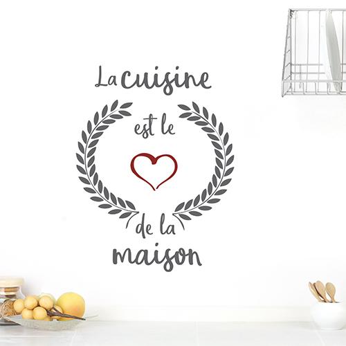 Sticker mural La cuisine est le coeur sur un mur du salon