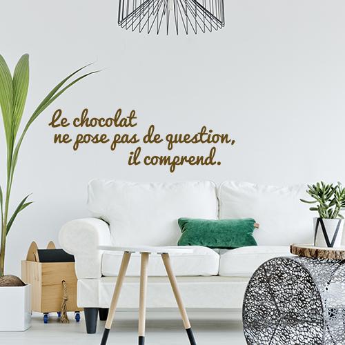 Sticker mural Le chocolat dans un salon moderne au dessus d'un canapé