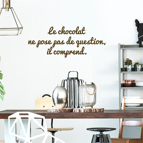 Sticker autocollant Le chocolat déco au dessus d'une table de salon