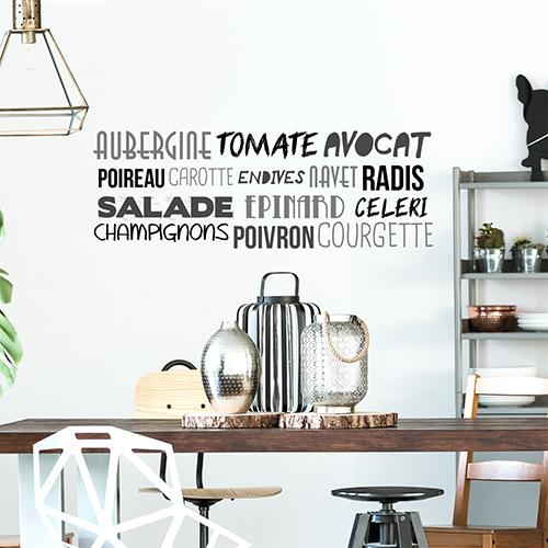 Sticker mural posé au dessus d'une table dans un salon de la gamme Aubergine