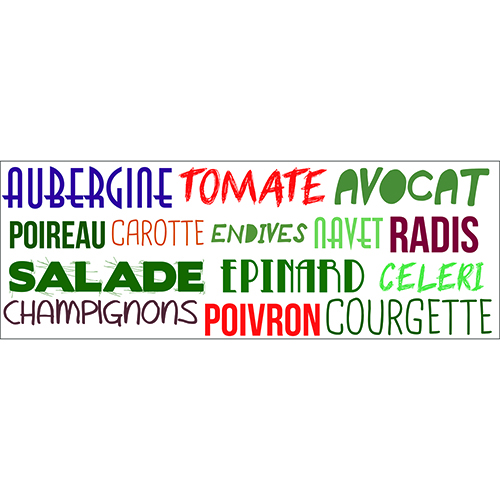 Sticker mural Aubergine Tomate multicolore déco