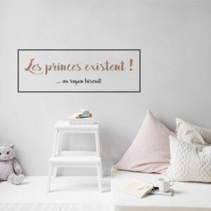 Sticker mural posé dans une chambre d'enfants Les princes existent