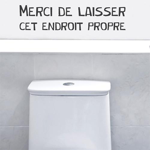 Sticker autocollant citation Merci de laisser cet endroit propre collé sur le mur de WC modernes