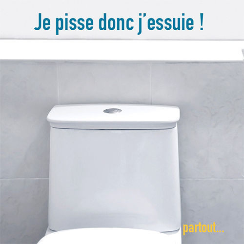 Sticker déco dans une salle de WC grise je pisse donc j'essuie