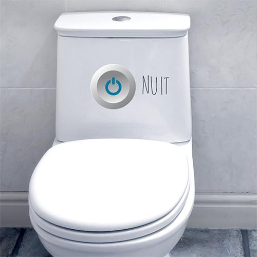 Sticker déco interrupteur jour collé sur un WC moderne
