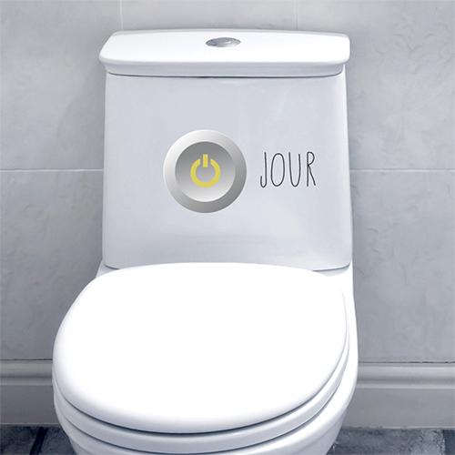 sticker collant nuit interrupteur collé sur un WC moderne
