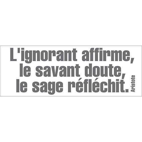 Sticker décoratif autocollant L'ignorant affirme citation philophique