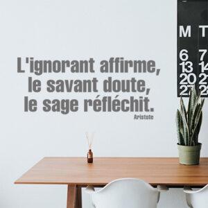 Citation philosophique décorative L'ignorant affirme collée au mur d'une pièce à vivre