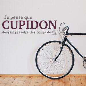 Couloir d'entrée décorée avec un sticker mural Cupidon derrière le vélo