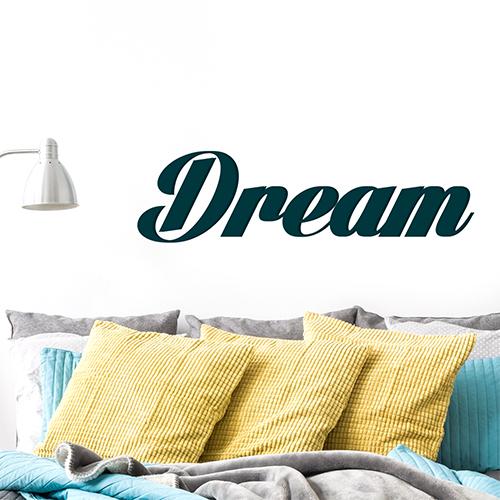 Pièce à vivre moderne décorée avec un sticker Dream bleu