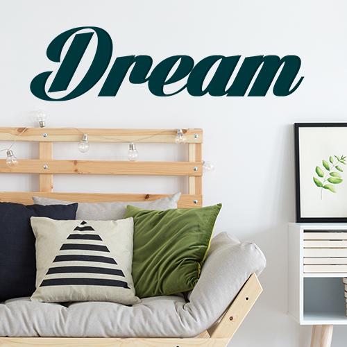 Chambre à coucher d'adultes décorée avec un sticker autocollant citation Dream bleu