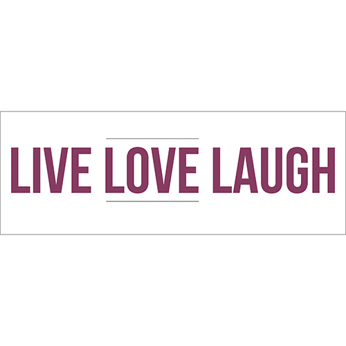 Sticker citation motivante Live Love Laugh violet