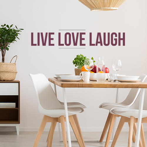 Sticker citation Live Love Laugh dans une chambre de jeunes parents
