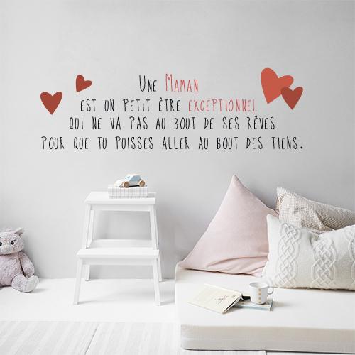 Sticker mignon définition maman collé au mur d'une chambre d'enfant