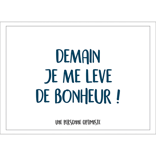 Sticker citation joyeuse, Demain je me lève de bonheur