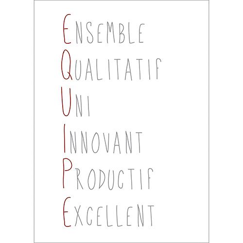 Sticker adhésif citation définition EQUIPE pour une pièce à vivre ou un bureau