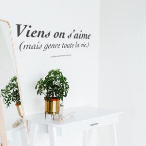 Sticker Vient on s'aime posé sur un mur avec un miroir et une plante