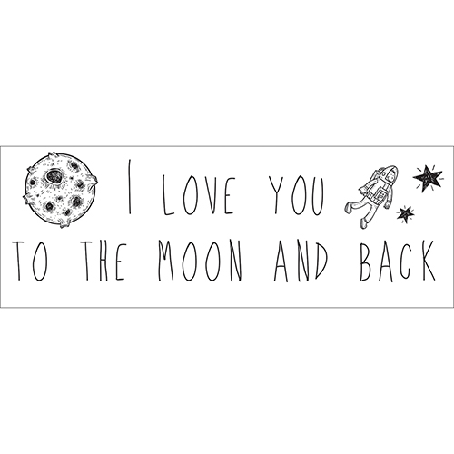 Sticker noir et blanc autocollant I love you