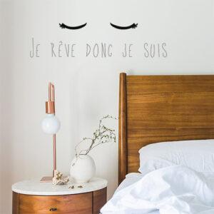 """Autocollant citation """"je rêve donc je suis"""" chambre d'adulte"""