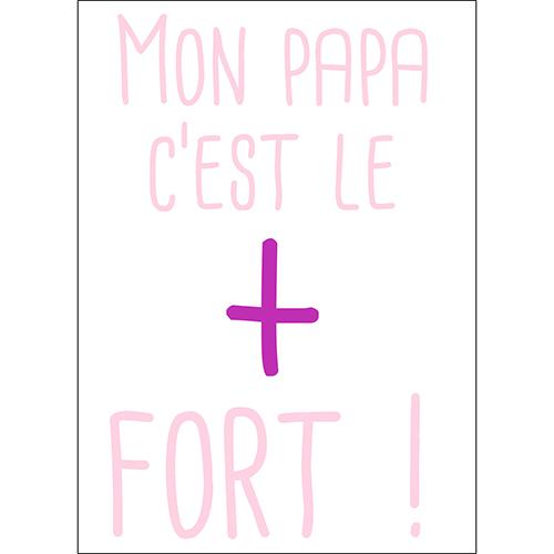 Sticker déco citation Mon papa c'est le plus fort couleur rose pour chambre de fille
