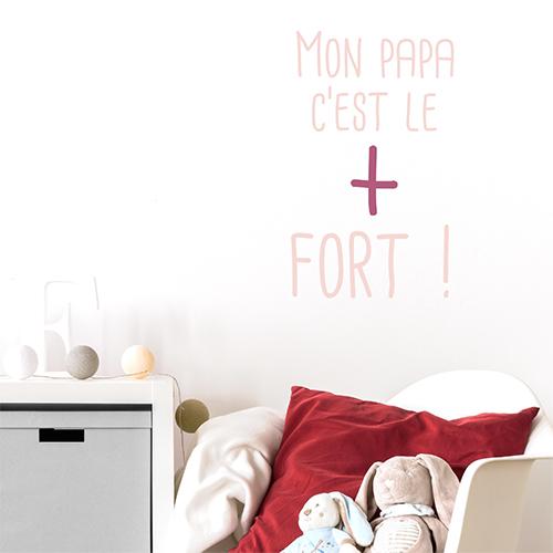 Adhésif citation murale rose pour chambre d'enfant
