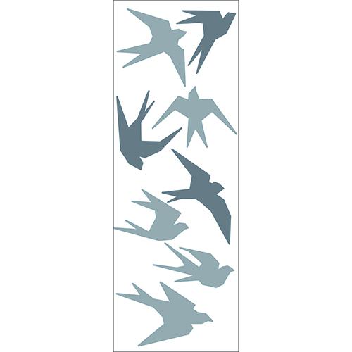 Sticker hirondelle électrostatique pour vitres, fenêtre et surface vitrée déco Hirdondelles gris