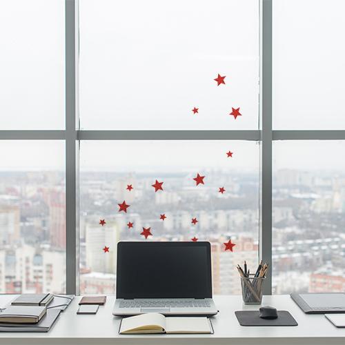 Sticker étoiles rouges sur la fenetre d'un bureau moderne
