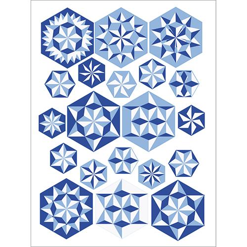 Sticker électrostatique pour vitres déco Hexagones géométrie bleu
