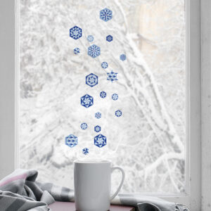 Stickers léectrostatiques pour vitres et fenêtres hexagones bleu comme des flocons de neige.