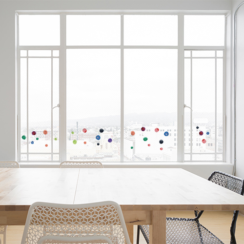 Sticker pour fenetre ronds aquarelle sur baie vitrée