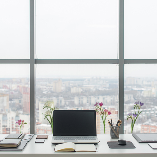Sticker fresia rose violet blanc sur la baie vitrée d'un bureau baie vitrée d'un bureau moderne