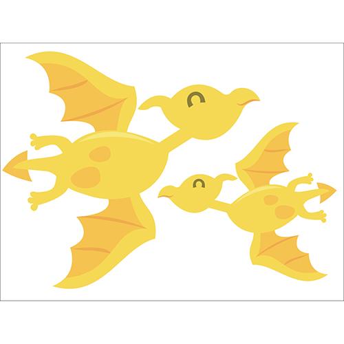 Déco pour chambre d'enfant Sticker électrostatique Dinosaures volant jaunes