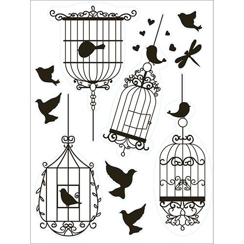 Stickers pourvitres et vitrages représentant des silhouettes d'oiseau et des cages à oiseaux électrostatiques facile à utiliser.
