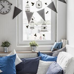 Stickers electrostatiques pour vitres, fenêtre et miroirs pour personnaliser avec un joli décor d'oiseaux et de cages bucoliques.
